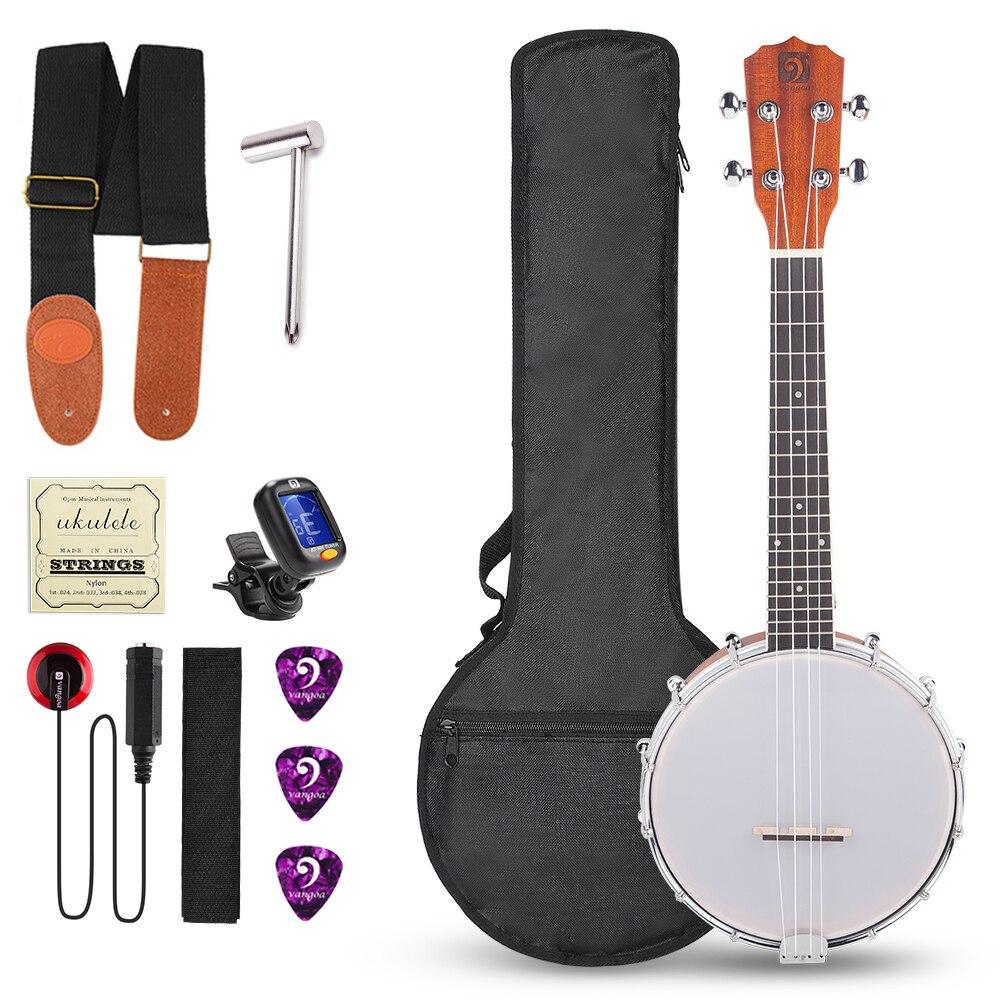 Manual Vangoa 6 cuerdas Banjo Guitarra Mini 26 pulgadas Sapele Travel Banjo Guitar para Principiantes con Bolsa Correa Sintonizador P/úas Pastilla