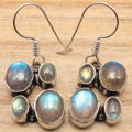 Shines From Every Angle !  Silver Overlay Multi Gem LABRADORITE Earrings
