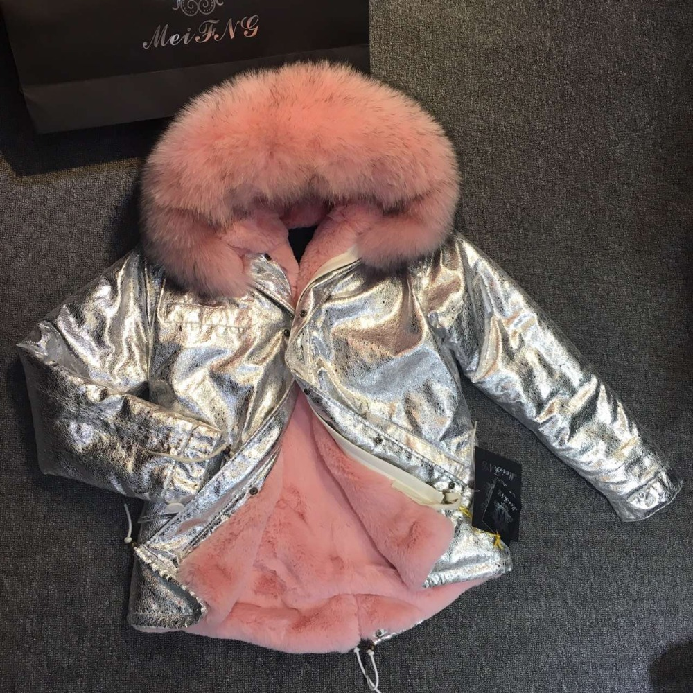 2017 new parka Silver pu coat real fur coat winter jacket women natural raccoon fur collar baby thick parkas 2017 winter new clothes to overcome the coat of women in the long reed rabbit hair fur fur coat fox raccoon fur collar