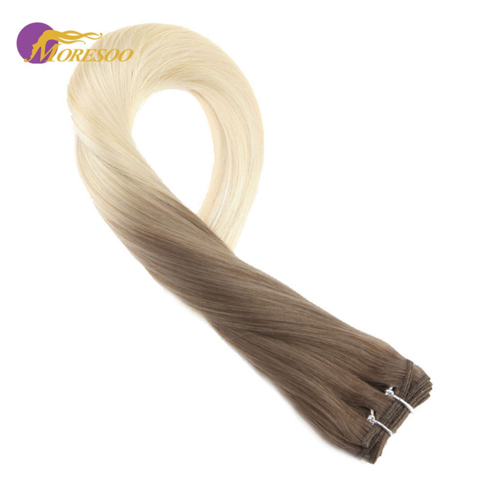 Moresoo Human Hair Bundles Straight #6 Brown Fading To #613 Blonde Double Weft Machine Remy Hair Extensions Sew In Weave 100G