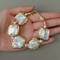 8 White Square Keshi Pearl Golden plated Bracelet