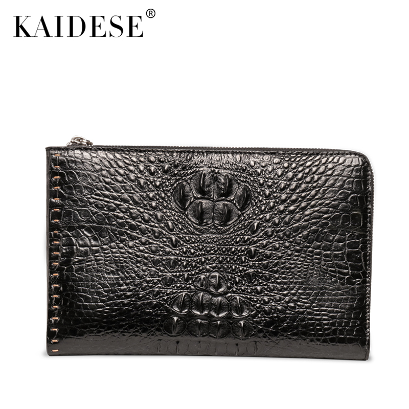 купить kaidese Crocodile skin handbag male leather bulk crocodile bag envelopes fashion Metrosexual wrist bag Clutch по цене 67929.5 рублей