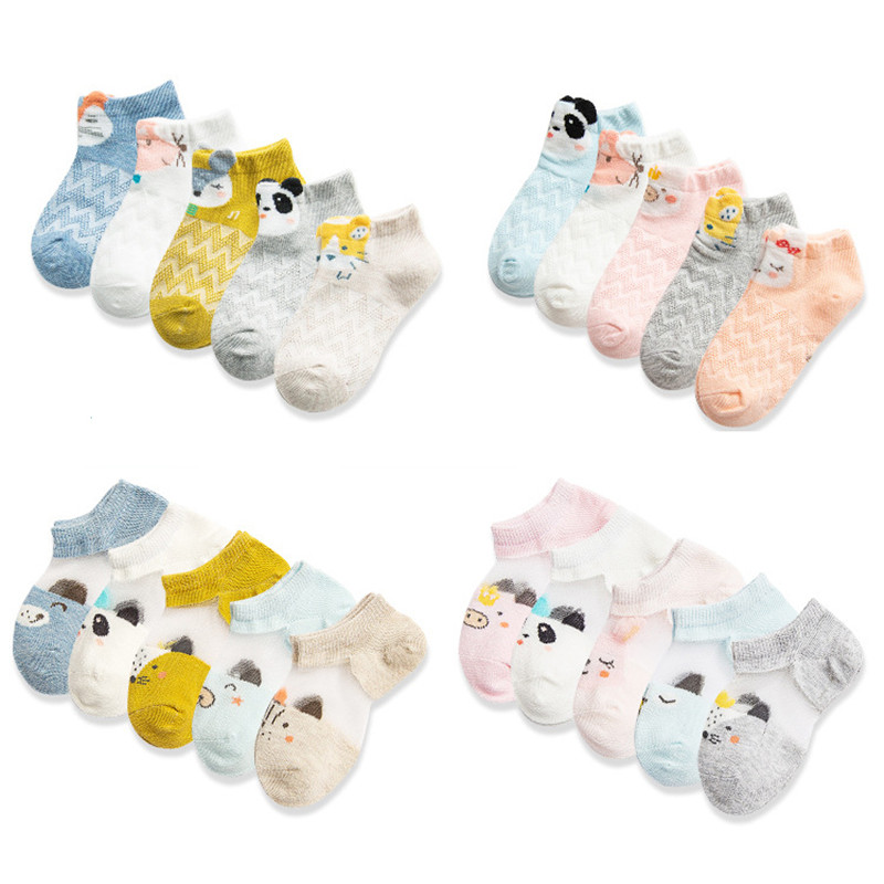 5 Pairs/Lot New Children Cotton Socks. Boy Girl Baby Cute Cartoon Breathable Mesh Socks. For 1-12 Years Summer Kids CN