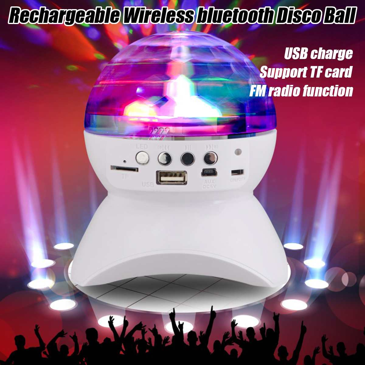 Rechargeable Wireless Bluetooth Speaker  Light Controller LED Crystal Magic Ball Effect Light DJ Club Disco Party Lighting