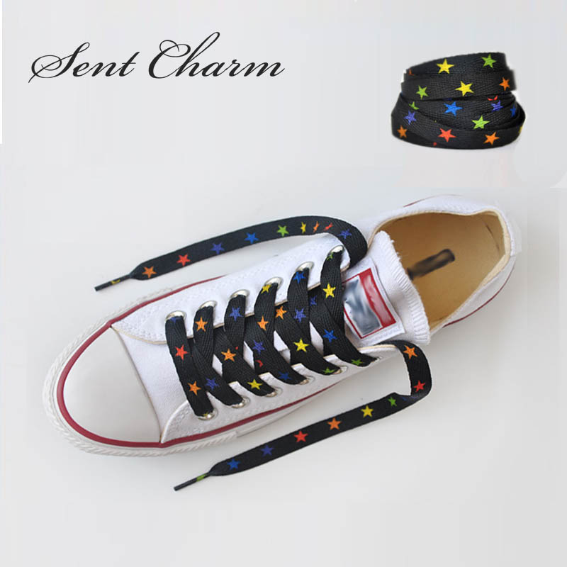 SENTCHARM 120cm/47inch Fashion Trend Star Shoelaces Flat Colorful Latchet For Canvas Shoes Sneakers