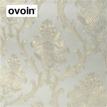 Luxury Gold White Damask 3d Stereoscopic Embossed Wallpaper non woven Wall Paper Roll Bedroom Living Room Wall Cover Teal Blue(China)