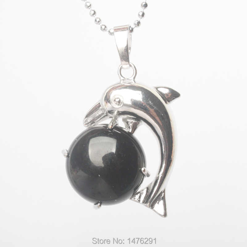 Moda biżuteria posrebrzana naturalne ametysty kamień z pięknym wisiorek w kształcie delfina 1 sztuk