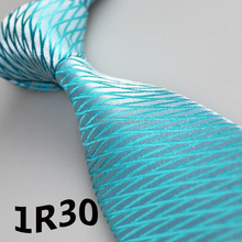 2018 Latest Style Ties Sky Blue Brite White Grid Striped Design Designer Ties Men s Dress