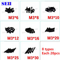 160pcs High Quality 100% New M3 Screw Each 20pcs Grade 12.9 Black Carbon Steel Stainless Thread Nut