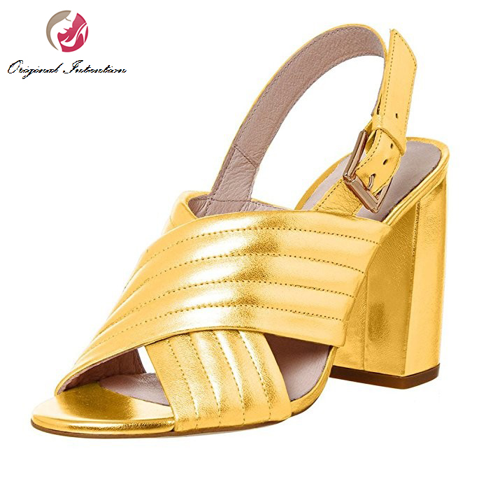 ФОТО Original Intention Women Sandals Stylish Peep Toe Square Heels Sandals Beautiful Gold Lavender Red Shoes Woman Plus US Size 4-15