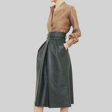 Высококачественная рубашка Топы+ кожаная юбка с высокой талией комплект из двух предметов Осень/Зима женская кожаная юбка костюм шикарные OL костюмы U068