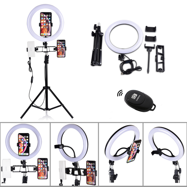 Dimmable Makeup Selfie Led Ring Light Tripod Stand Photographic Camera Photo Studio Phone Lamp 16 26 CM 6/10