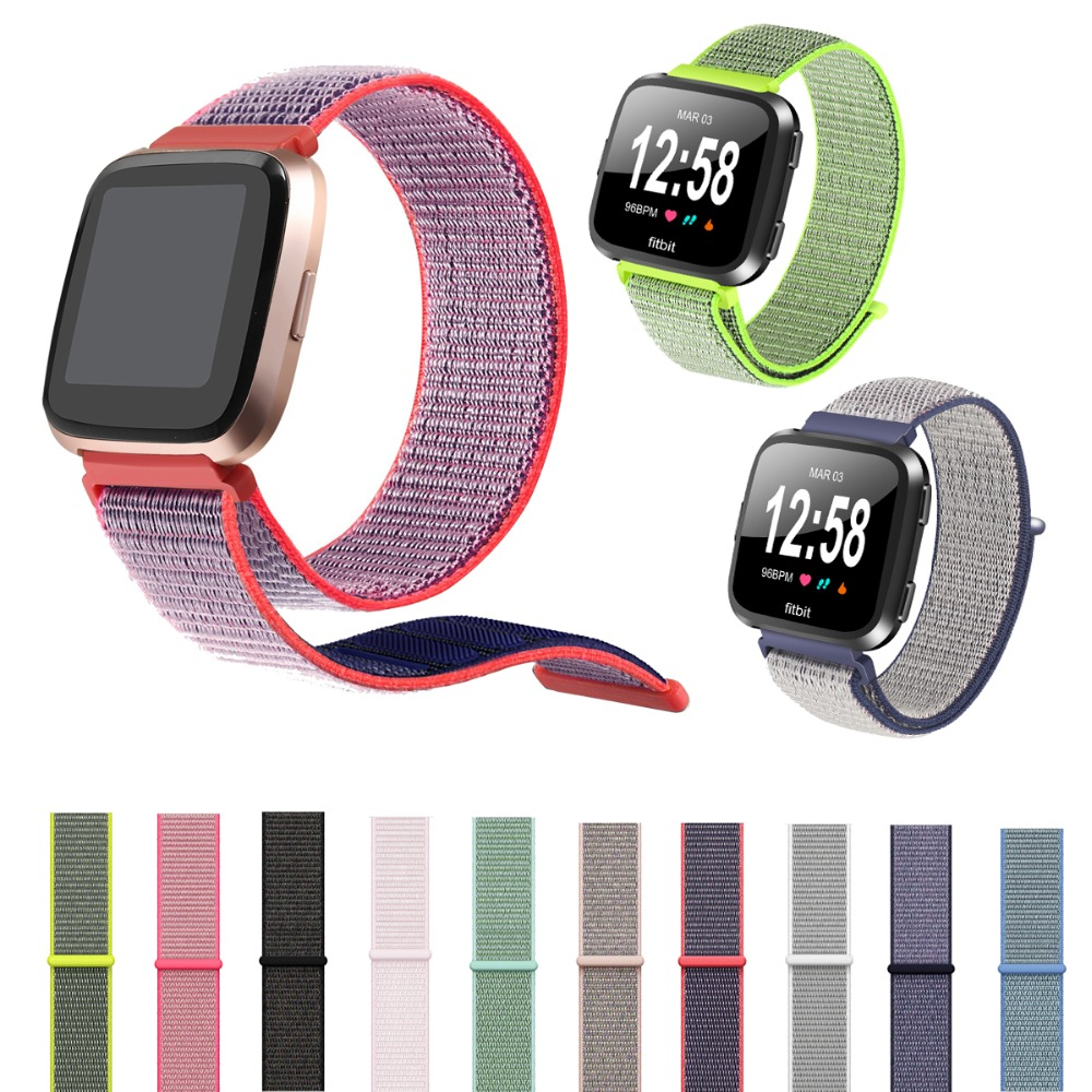 For Fitbit Versa Bands for Women Men, Woven Nylon Loop Band Replacement Accessories Wristband Sport Strap for Fitbit Versa bands