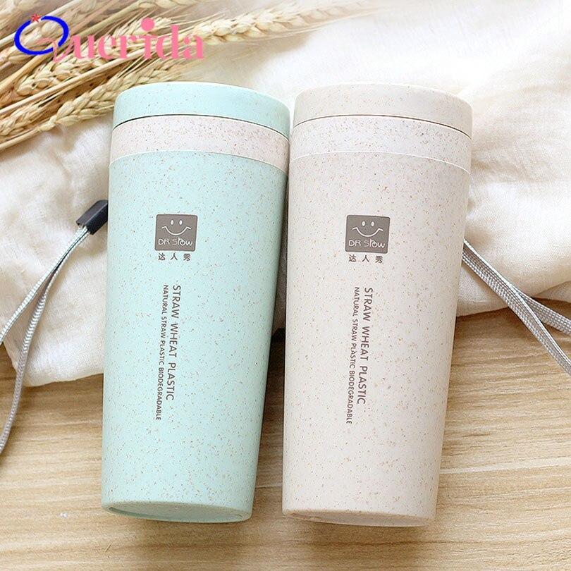 Tragbare 300 ml Thermos Flasche Gesunde Kunststoff Weizen Faser Tasse Doppel Schicht Thermische Becher Büro Kaffee Tee Wasser Flasche Reise becher