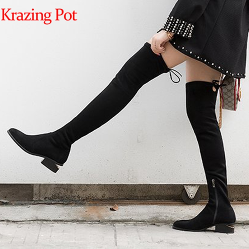 Krazing pot flock fashion European design boots style strange style med heels round toe gorgeous stretch over-the-knee boots L06 fashion style