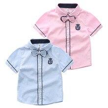SL-793, summer children boys shirts, short sleeve gentle man embroidery bow shirts