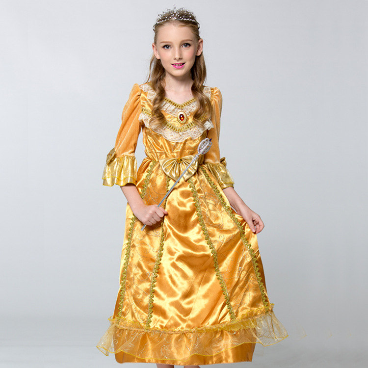 Costumes ith yellow dress at golden
