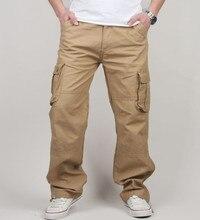 30 44 plus tamanho de alta qualidade calças de carga masculina casual calça multi bolso militar tático longo comprimento total calças