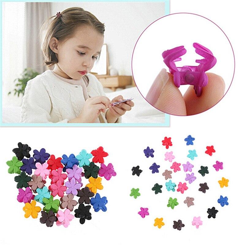 30PCS Random Color Cute Children Girls Hairpins Small Flowers Gripper 4 Claws Plastic Hair Clip Clamp Barrettes Hair Accessories