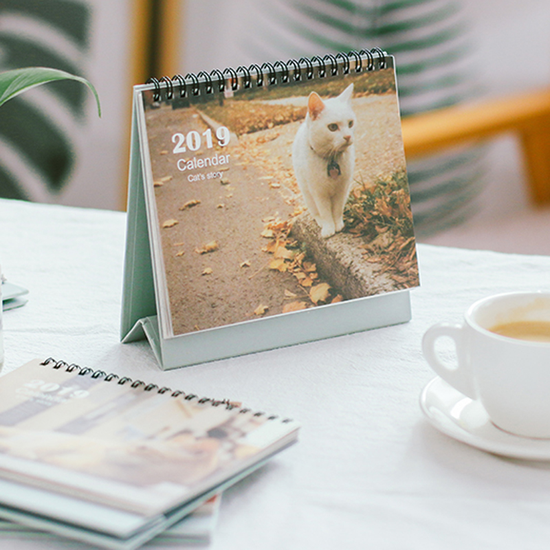 JIANWU 1pc Creative Kitty cat desk calendar 2018-2019 schedule desk calendar weekly planner memo school office stationery kawaii настольная лампа globo bird 56672 1t