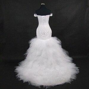 Image 2 - QQ Lover 2020 جديد قبالة الكتف حورية البحر فستان الزفاف مخصص حجم كبير العروس ثوب زفاف أفريقي