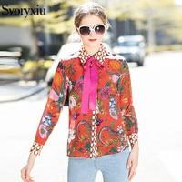 SVORYXIU Zijde Bloemen Animal Print Casual Blouse Shirt Hoge Kwaliteit Lange Mouwen Bow Fashion Runway Tops Blusas 2018
