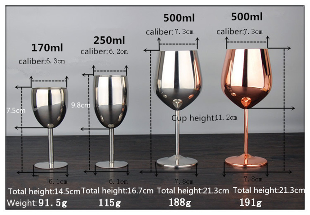 WOWCC Stainless Steel Wine Glass Goblets Juice Drink Champagne Goblet Cocktail Glasses Whiskey Cup Party Barware