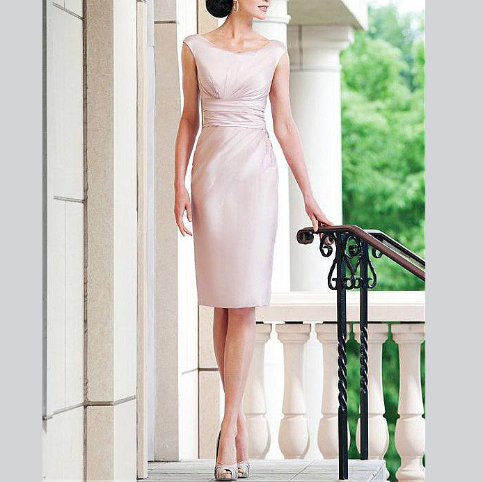 Gorgeous  Sheath Ruffles Knee-Length With Jacket Custom-Made Women's Dresses Mother Of The Bride Dresses Plus Size