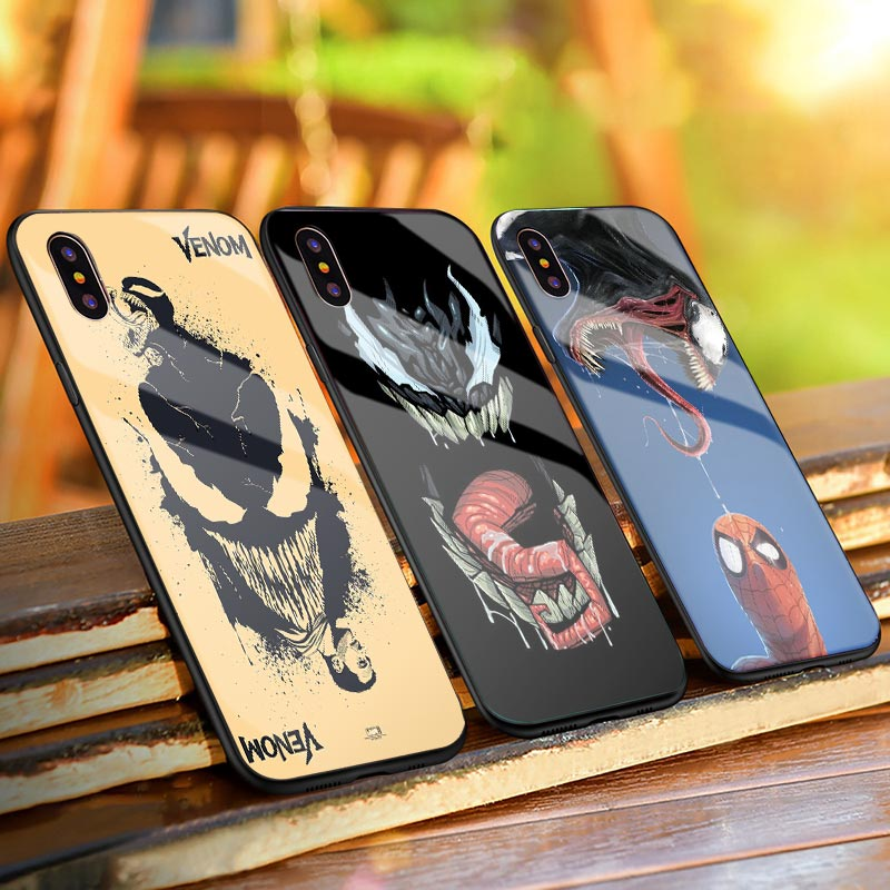 Klarketong Marvel Case Venom Figure Tempered Glass Mobile Phone Case For iPhone Xs MAX XR X 7 8 6 6S Plus Hard Back Cover Cases marvel glass iphone case