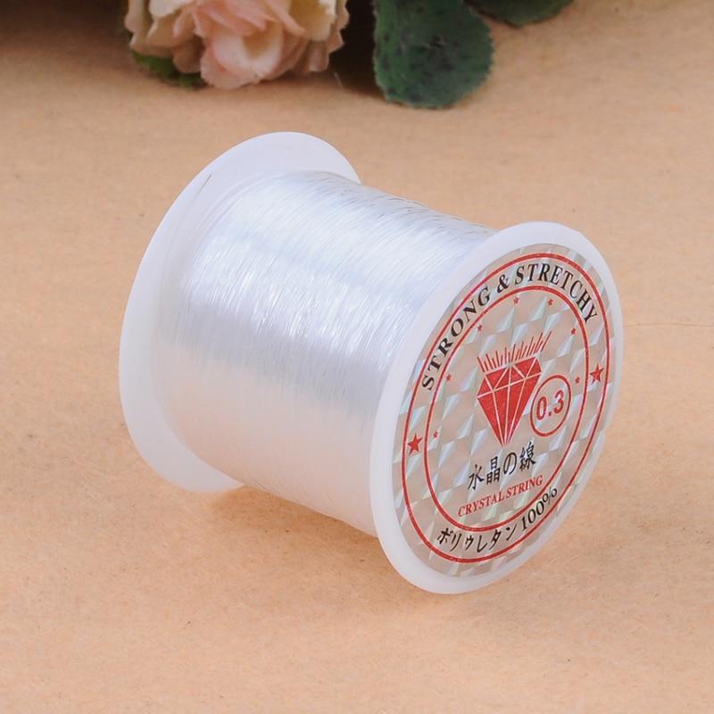 0,2-0,8 мм 1 рулон DIY бусины прозрачные нейлоновые ручной шнур с украшением в виде кристаллов веревки без эластичности линии для создания брасл...