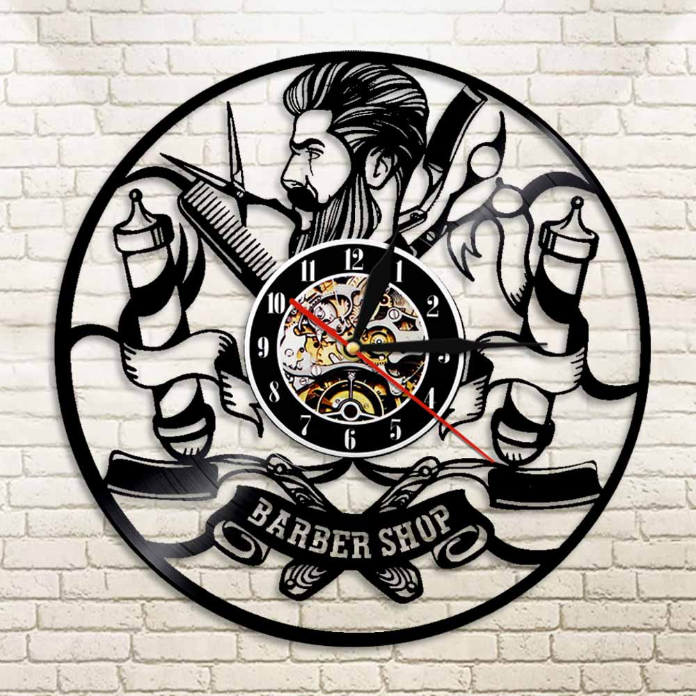 1Piece Vintage Barber Shop Decor Vinyl Record Wall Clock Haircut Wall Clock Gift Idea For Hairdressers Barbers Beauty Salon