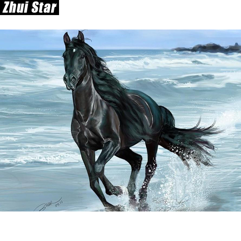 "New Full Square Diamond 5D DIY Diamantmålning ""Black Horse"" Broderi Cross Stitch Rhinestone Mosaic Painting Decor Gift"