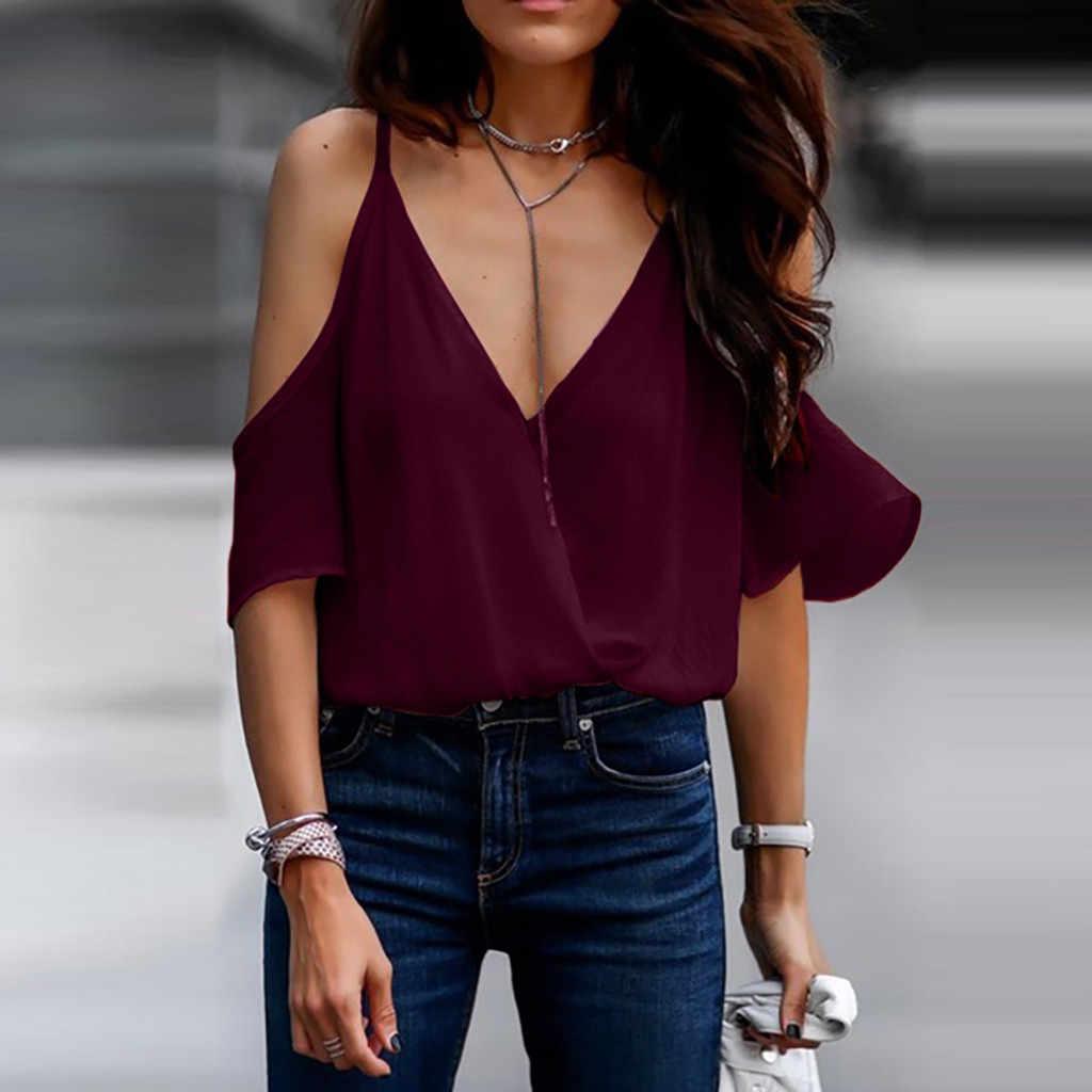 夏のファッションオフショルダーブラウスストラップフリルシフォン Tシャツトップス女性の半袖シャツ Blusas Femininas 服