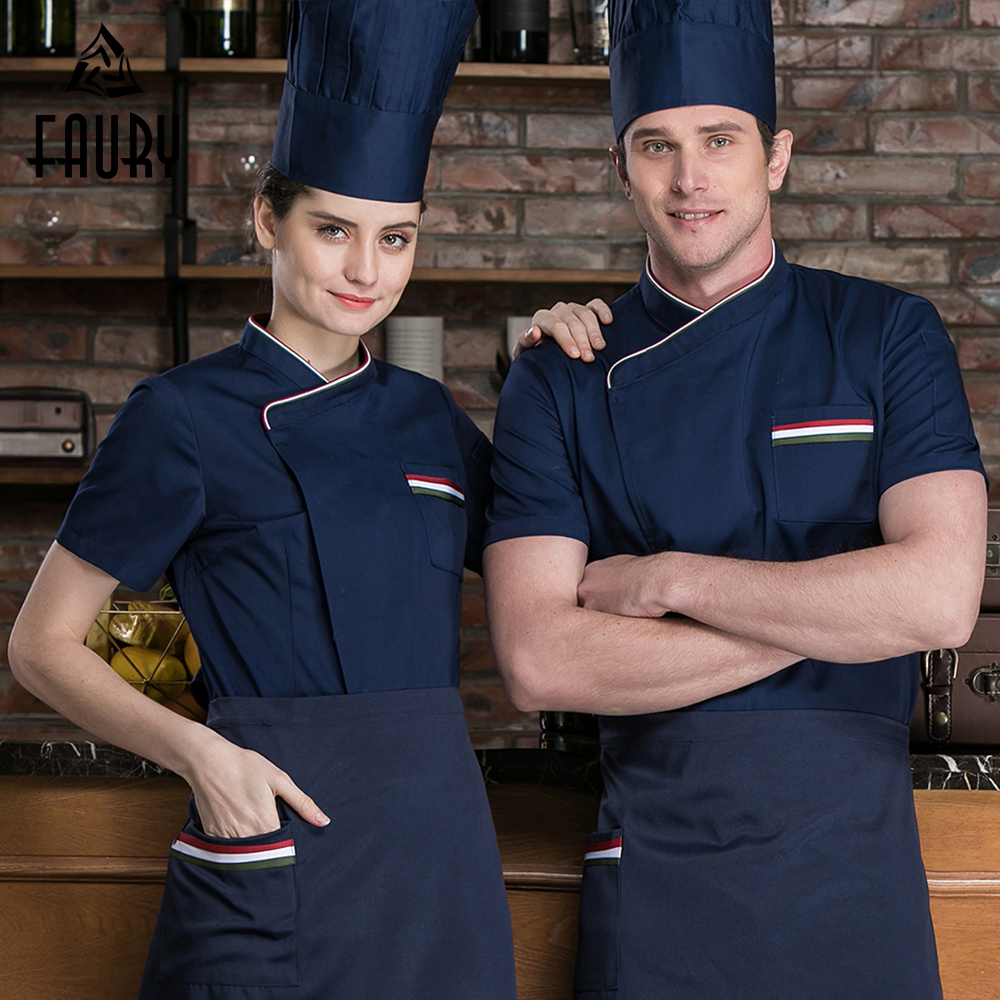 2019 Short Sleeve Chef Jackets French Cook Clothes Men Women Kitchen Hotel Barbershop Bakery Restaurant Uniform High Quality