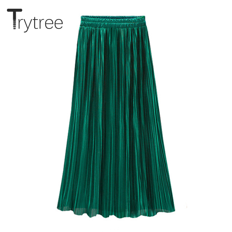 Trytree 2019 Spring Summer New Pleated Skirt Womens Casual High Waist Skirt Solid Long Skirts Classical Metallic Skirt Female