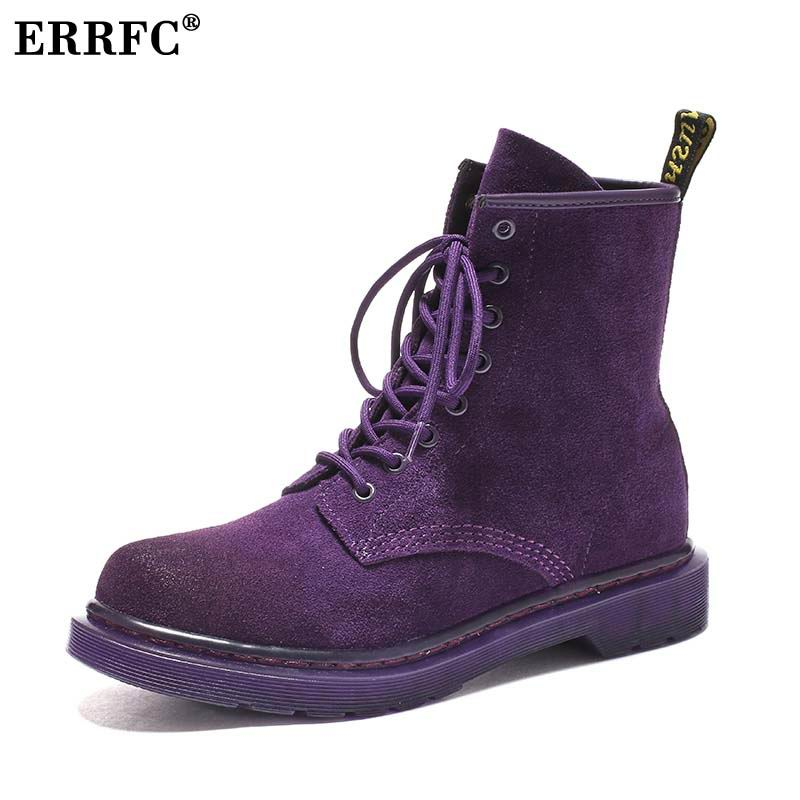 ERRFC New Arrival Women s Motorcycle Boots Work Safety Purple Ladies Ankle Boots For Girls Black
