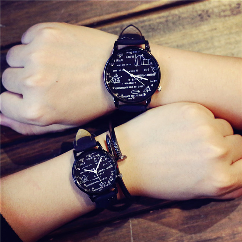 Student Fashion Trend Math Dial Lovers' Watch Men Campus style Casual Quartz Watch Women Sport Soft Leather Wristwatch gift hour