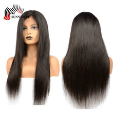 Sunnymay Full Lace Wigs Human Hair Indian Virgin Hair Silk Straight Pre Plucked Lace Wigs With Baby Hair Natural Hairline цена