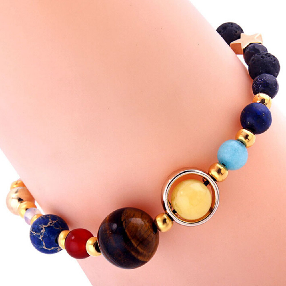Women & Men Solar System Eight Planets Of The Universe Galaxy Guardian Star Natural Stone Beads Bracelet Bangle Gift