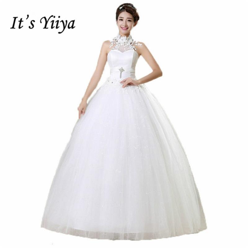 It's YiiYa wedding gowns 2017 plus size lace wedding dress halter sexy white cheap design bride Vestidos De Novia HS167