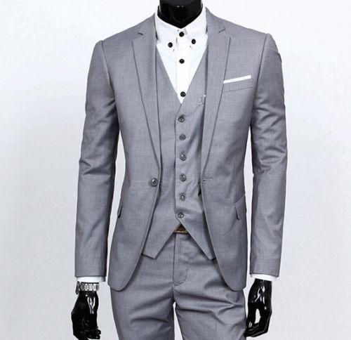 2016 Custom Made Men Handmade Grey 3 Piece Suits Jacket Mens Slim ...