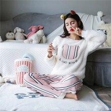 ddf17fd878 New Winter Women Cute Flannel Cashmere Nightwear Home Leisure Wear Coral  Fleece Soft Thermal Comfortable Sleeping