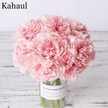 Bouquet de pivoines artificielles en soie pour décoration ou bouquet, fausses fleurs, pour la maison, le salon ou mariée, imitation de haute qualité