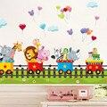 Diy dos desenhos animados animal trem adesivos de parede do jardim de infância quarto das crianças casa adesivos decorativos portfólio pvc adesivos de parede
