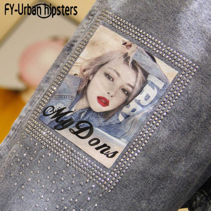 Женские джинсы, свободные, с принтом, с эластичной талией, на шнурках, с дырками, на весну-лето