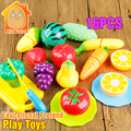 Minitudou Kitchen Toys For Girls 16PCS Miniature Cooking Set Pretend Play Cutting Plastic Fruits And Vegetables Food Toy