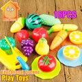 Minitudou kitchen toys for girls 16 unids miniatura de cocina set pretend play de corte de frutas y verduras de plástico de alimentos de juguete