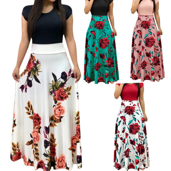 Femmes robe manches courtes O cou Patchwork femmes robes Floral imprimé drapée robes femme longue Maxi robe décontractée