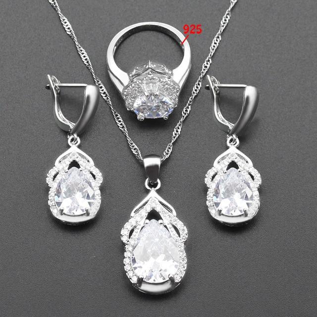 4f5f2d4b5777 Venta caliente color plata 925 logo gota nupcial regalo de boda de las  mujeres joyería conjunto