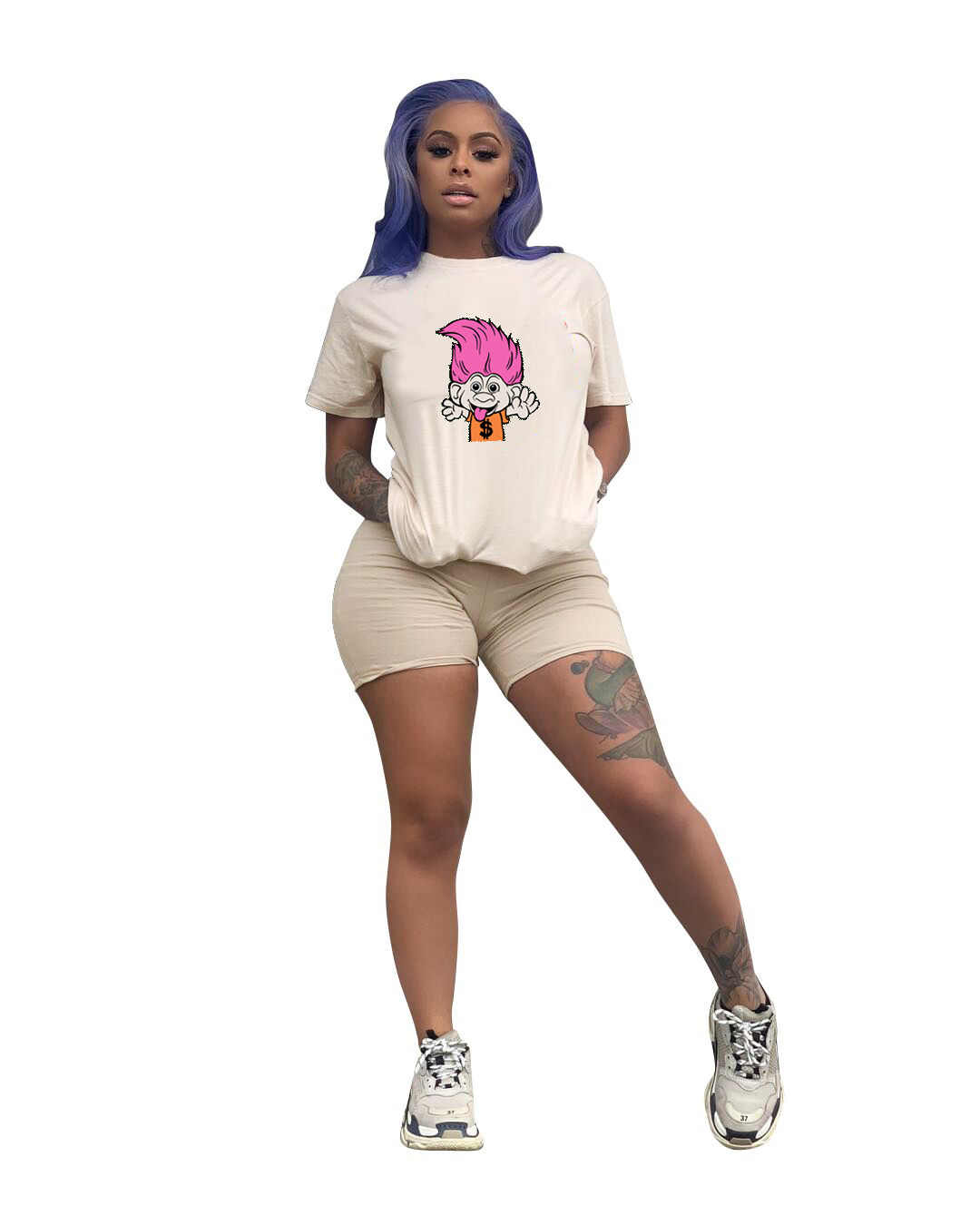 2019 Wanita Musim Panas Kartun Cetak Leher O Lengan Pendek Tee Top & Celana Pendek Suit Dua Sepotong Set Fashion Aktif Memakai Pakaian Latihan Yg Hangat DN8231